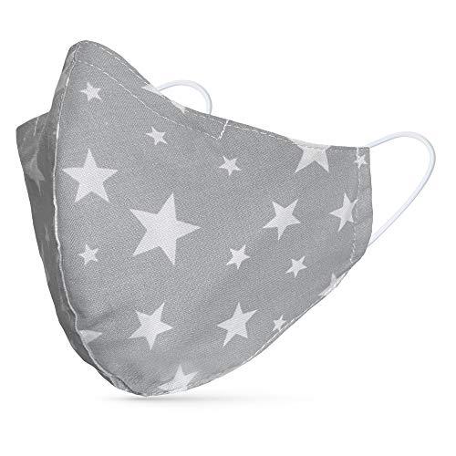 tanzmuster ® Behelfsmaske waschbar für Erwachsene - 100% Baumwolle - Nasenbügel und Filtertasche - Mund und Nasenschutz 2-lagig - OEKO-TEX Standard 100 Sterne grau weiß Größe M Erwachsene