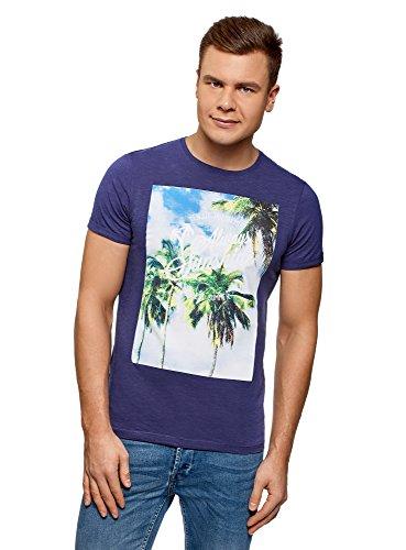 oodji Ultra Hombre Camiseta Estampado Palmeras, Azul, ES 56 / XL