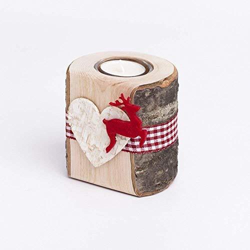 Woods Teelichthalter aus Holz mit Glaseinsatz und Filzmotiv Hirsch I handgefertigt in Bayern I rustikale Tisch-Deko Weihnachtsdeko I Holz-Deko Windlicht I Teelicht Kerzenhalter 10 cm I 1 Stück