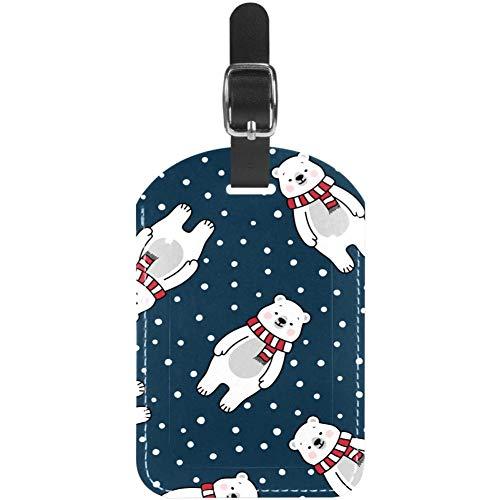 Etiquetas de Equipaje para Bufanda de Invierno, diseño de Oso Polar para Maleta de Viaje, 1 Paquete