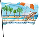 ShiHaiYunBai Flagge/Fahne, Swimming Pool Ladder Umbrella Wooden Lounger Flags Decor Decoration Flags 3x5 Feet Vibrant Colors Quality Polyester and Brass Grommets