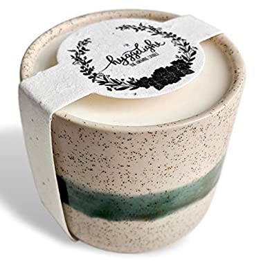 The Growing Candle - Wildflower Seed Embedded Label, Reuse Ceramic Pot, Grow Flowers, Less Waste, 100% Soy Candle, 8.5oz - Created by Hyggelight - EDITH - LAVENDER