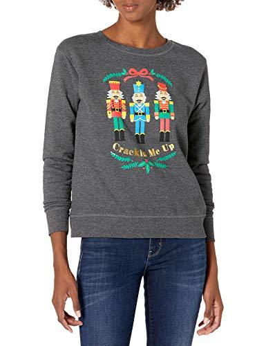 Hanes Women's Ugly Christmas Sweater-Crackin Me Up, Slate Heather, Medium