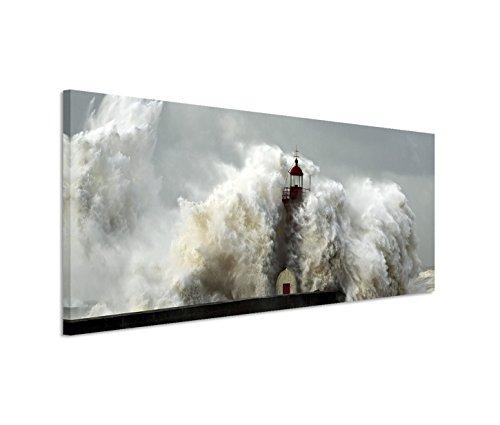 Stampa su tela panoramica, 150x 50cm, con telaio, soggetto: tempesta in mare con faro