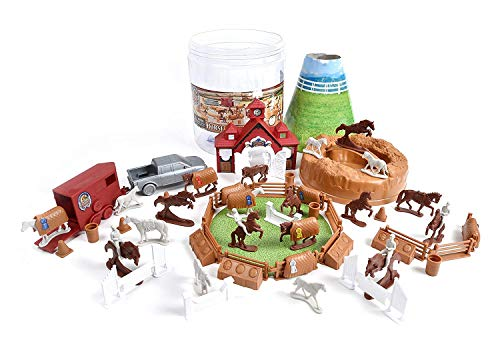 Sunny Days Entertainment Horse Farm Bucket – 71 Assorted Horses Toy Play Set For Kids, Boys and Girls, Plastic Cake Toppers Figures with Storage Container