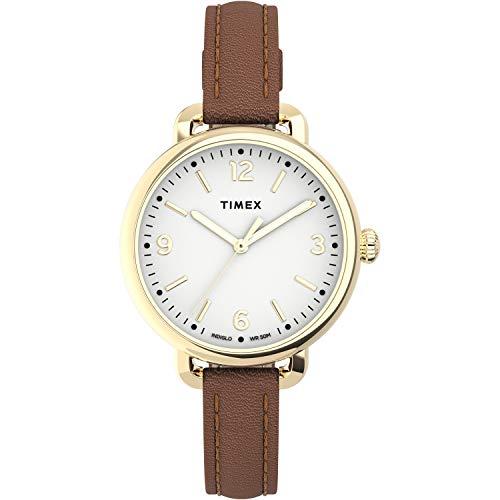 Timex Women's Standard Demi 30mm Quartz Leather Strap, Brown, 10 Casual Watch (Model: TW2U60000VQ)