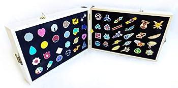 Decalism Set of 50 Pokemon Gym Badges Pins in Pine Wood Box