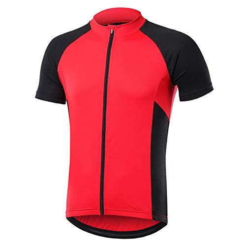 Pateacd Maillots De Ciclismo para Hombre, Transpirable Manga Corta Bicicleta Montaña Camiseta MTB Secado Rápido, Camisetas Ciclismo Ropa Bicicletas Carreras Bolsillos,Rojo,M