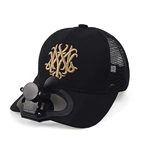 XZQ Sombrero de Ventilador, Sombrero de Sol portátil, Gorra de béisbol Adulta con Ventilador de enfriamiento de Carga USB para Escalada al Aire Libre Salidas Todos los días (Color : Black)