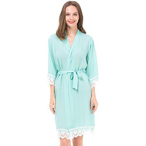 Mr & Mrs Right Damen-Kimono-Bademantel für Braut und Brautjungfer mit Spitzenbesatz und goldfarbenem Glitzerrücken - Grün - X-Small/0-4 US