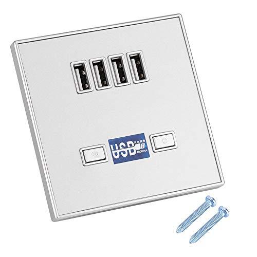 Enchufe de pared con luz LED, 220V / 36V con enchufe USB Enchufe de cargador USB, negro/blanco/dorado /(36V silver)
