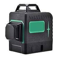 レーザー墨出し器 高精度 クロスラインレーザー グリーン 12ライン レーザーレベル 水平器 IP54防塵防水 耐衝撃 ミニ型 高輝度 持ち運び便利 18605バッテリー 収納バック付き