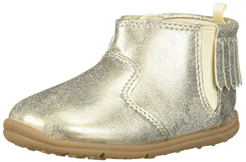 Carter's Every Step Girl's Infant 1st Walker Evvie Fringe Fashion Boot Ankle, Gold, 4 Toddler