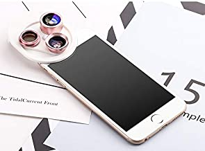 Phone Lens Kit, 0.63X Wide Angle Lens & 15X Macro Lens & 198°Fisheye Lens, Conveniently Rotate to Change for Different Lens, Phone Lens Attachment (Gold)
