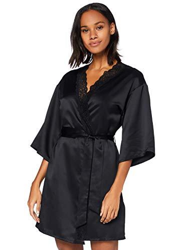Amazon-Marke: Iris & Lilly Damen Morgenmantel, Schwarz (Black Beauty), XS, Label: XS