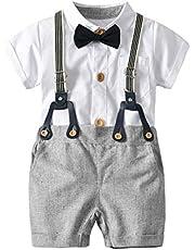 エルフ ベビー(Fairy Baby)ベビー重ね着風フォーマル半袖 夏用セレモニーロンパース 結婚式服 男の子