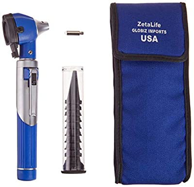 ZetaLife Otoscope - Ear Scope with Light, Ear Infection Detector, Pocket Size, in 10+ Colors! (Blue)