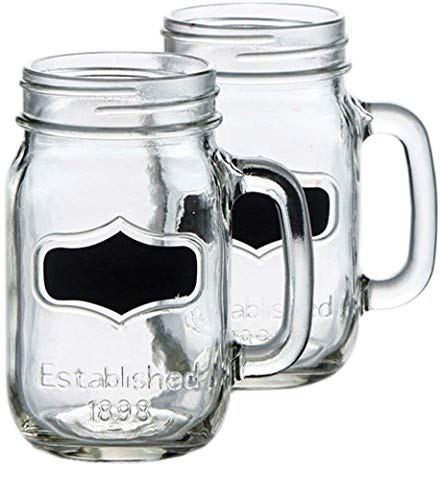 Circleware Yorkshire Glass Mason Jar Mugs with Chalkboard and Handle, Set of 4, Heavy Base Fun Glassware Drinking Beverage Cups for Water, Beer, Juice & Bar Decor, 17.5 ounce, Black