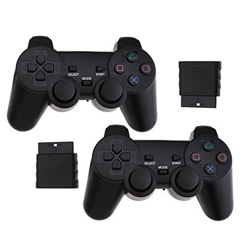 Mandos para PlayStation PS2 inalámbricos Dual Vibration, negro, 2 unidades