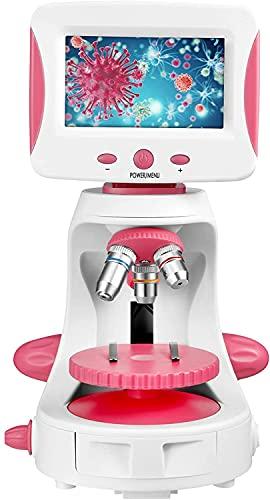 Vigvigo Microscopio Digital USB 2000x con Pantalla LCD de 5'', kit de Experimentos Biológicos de Ciencia y Educación, para Estudiantes de Laboratorio de Observación de Células Biológicas (rosa)