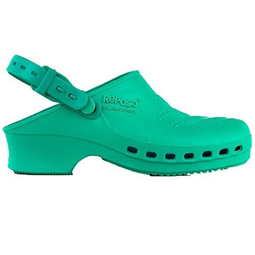 Zuecos Sanitarios de Trabajo Reposa • Zuecos Mujer y Hombre con Suela de Goma Antideslizante • Zapatos para Enfermería Y Hostelería • Talla 39 • Color Verde