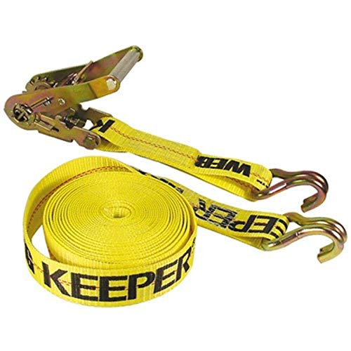 """Keeper 04624 Heavy Duty 40' x 2"""" Ratcheting Tie Down, 10,000 lbs Rated Capacity with Double J-Hooks"""
