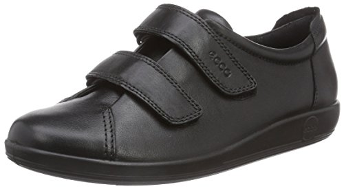 Ecco ECCO SOFT 2.0, Damen Derby Klettverschluss, Schwarz (BLACK WITH BLACK SOLE56723), 40 EU