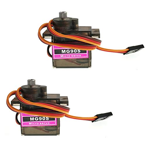 Maxmoral 2pcs MG90S 9g Metal Gear Micro Tower Pro Servo Upgraded SG90 Digital Micro Servos for RC Vehicle Helicopter Boat Car Models