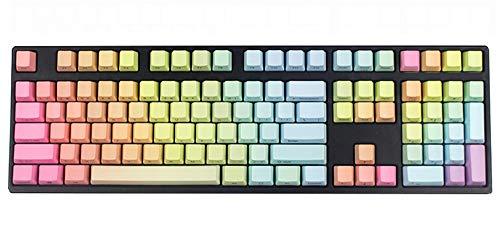 Botón girado Los Nombres de Teclas Pendiente del Arco Iris Grueso PBT ANSI Disposición Perfil Fit Interruptores de teclados mecánicos 108 Teclado Clave (Axis Body : Blank, Color : 104 Key)