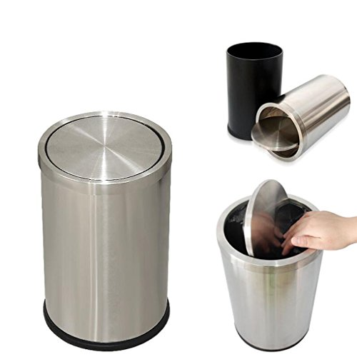 Xuan - worth having Acier inoxydable Shake The Lid By Trash Clamshell Home Cuisine Salle de bain WC Clamshell Trash Can Poubelles (Couleur : Silver, taille : 12L)