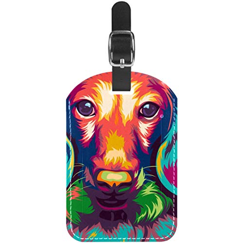 Luggage Tags Long Haired Miniature Dachshund Dog Leather Travel Suitcase Labels 1 Packs