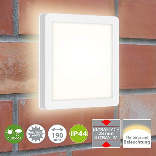 Briloner Leuchten - LED Außenleuchte, Außenwandlampe inkl. Backlight-Effekt, Außendeckenlampe, Badlampe 8 Watt, 1.200 Lumen, 4.000 Kelvin, Weiß, Quadratisch, 190x190x28mm (LxBxH)