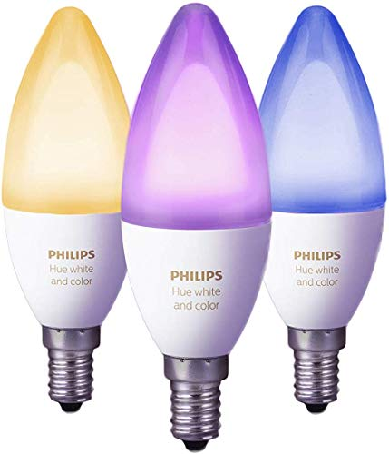 Philips Hue Lot de 3 Ampoules Connectées White and Color Flamme E14