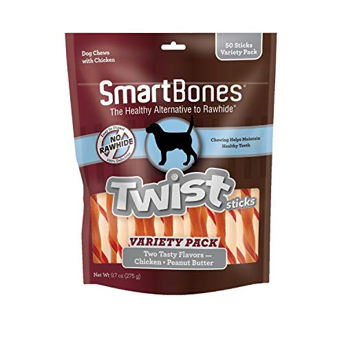 Price comparison product image SmartBones Twist Sticks Variety Pack 50 Count,  Rawhide-Free Chews for Dogs Made with Real Chicken Or Peanut Butter,  Model Number: SBM-00462