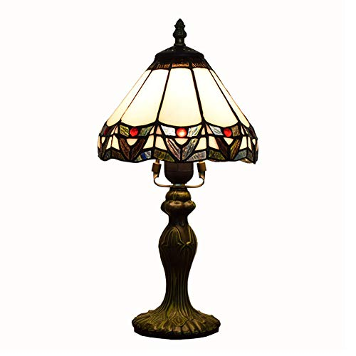 J.W. Mittelmeer-Schreibtisch Licht Tiffany Buntglas Lampshade Tischlampe am Bett Kinderzimmer Schlafzimmer Esszimmer Beleuchtung Aluminiumlegierung Grund