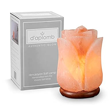 100% Authentic Natural Himalayan Salt Lamp; Hand Carved Flower Rose in Pink Crystal Rock Salt from the Himalayan Mountains; Hand Crafted Wood Base, UL-listed Dimmer Cord
