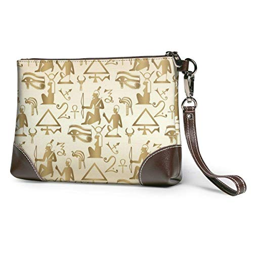 JHGFG Egyptian Background Wallpaper Leather Hand Bag 3D HD Printed,Makeup Bag Handbag Purse Wristlet Wallet Clutch Phone Purse Money Pouch Wristlet Clutch Bag Women Girls