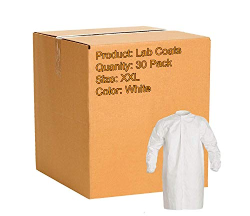 Pack of 30 White Lab Coats. Unisex Disposable Polypropylene Labcoat. XX-Large Size. Hook and Loop Fastener, Collar, Elastic Wrists, No Pockets. Coated Visitor Poly Coats for Industrial Use. Wholesale