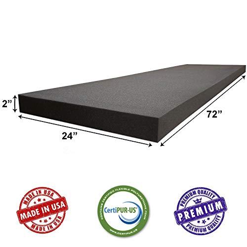 AKTRADING CO. 2' H X 24' W X 72' L CertiPUR-US Certified Rubber Foam Sheet Cushion (Seat Replacement, Upholstery Sheet, Foam Padding, Acoustic Foam Sheet)