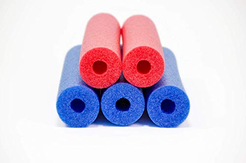 Fix Find - Pool Noodles - 5 Pack of 52 Inch Hollow Foam Pool Swim Noodles | Blue & Red Foam Noodles