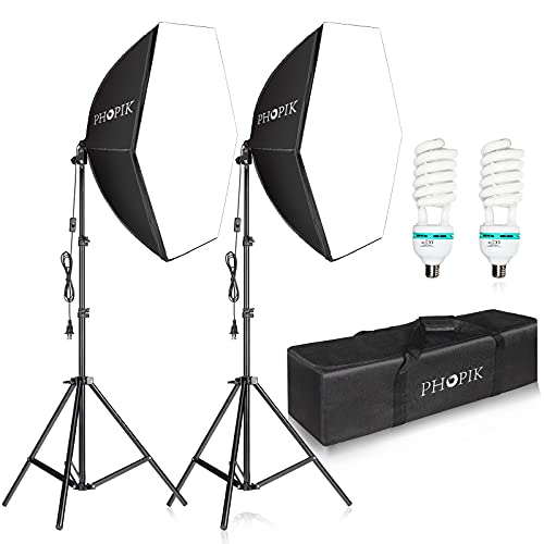 PHOPIK Softbox Photography Lighting Kit: Photo Studio Equipment 30 x 30 inches with E27 85W 5400K Light Bulb and Adjustable Height Light Stand for Filming Video, Photo Shooting and Streaming