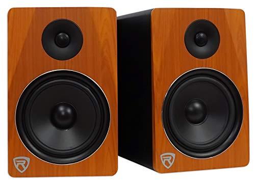 "Rockville APM8C 8"" 2-Way 500W Active/Powered USB Studio Monitor Speakers Pair, Cherrywood"