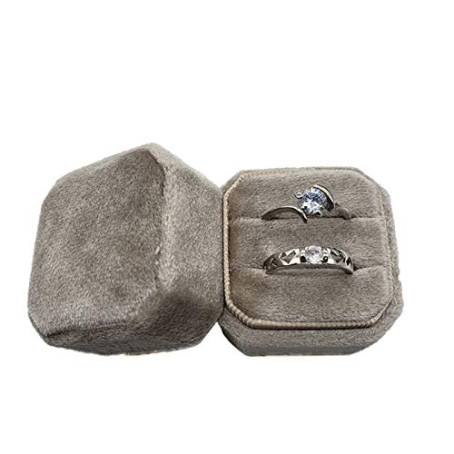 erticvtiu LINhuahua Velvet Ring Box - Ring Holder Case Double Ring Box Case for Engagement, Wedding, Ceremony, Ring Display and Storage