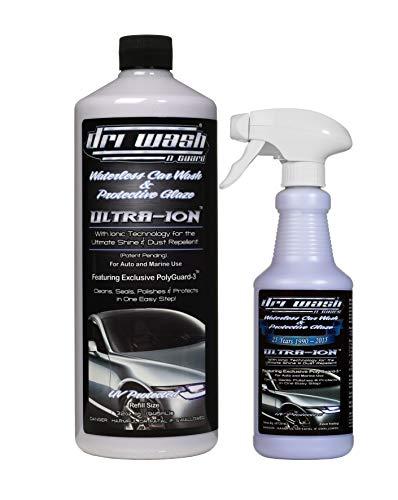 Dri Wash 'n Guard Ultra-Ion 48oz Waterless Car Wash (32oz Refill w/Filled 16oz Spray Bottle)