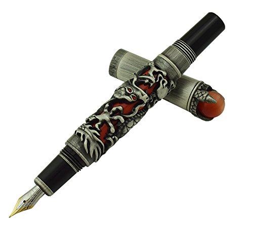 Jinhao Pluma estilográfica de dragón negro y rojo, punta fina, diseño intrincado, joyas verdes con estuche para bolígrafos