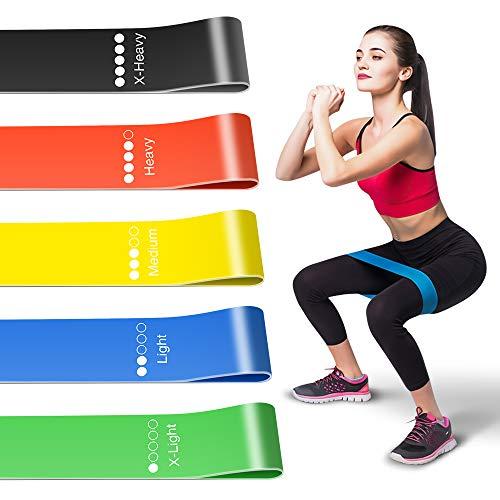Molbory Fitnessbänder Set [5er Set], Widerstandsbänder mit Tragebeutel, Resistance Bands Gymnastikband aus Naturlatex für Muskelaufbau Pilates Yoga usw (Schwarz)