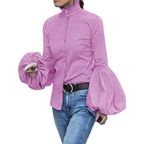 PKTOP Fashion Damen Lässige Laternen-Bluse, langärmelig, hoher Kragen, Knopfleiste Gr. Small, rose
