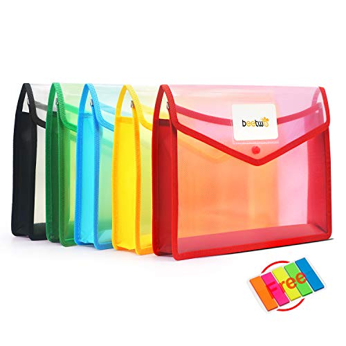 5 Pack A4 Plastic File Wallet Folders, Poly Envelope Expandable File Folders Clear Document Folders with Label Pocket & Snap Button for School Home Office, 5 Assorted Color