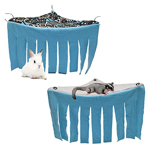 2 Pack Guinea Pig Hideout Hideaway, Corner Fleece Small Animals Hideout Hide Out for Guinea Pigs, Chinchilla, Rabbit, Rat, Hedgehog, Squirrel, Ferret, Hamster- Pet Cage Accessories and Toys (Geo+Grey)