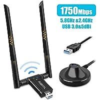 Adaptador WiFi de Largo Alcance USB 17500Mbps, Dongle inalámbrica Banda Dual(5GHz/1300 Mbps+ 2,4GHz/ 450 Mbps), 2 Antenas WiFi de 5dBi, USB 3.0, para PC Soporta Windows 10/8/7/XP, Mac OS 10.6-10.13